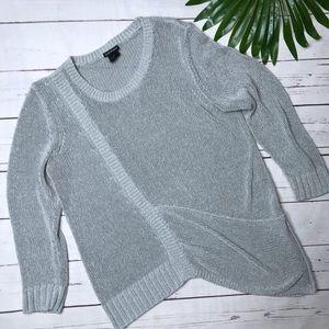 {Club Monaco} sz M silver asymmetrical sweater